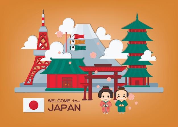 Японская иллюстрация с ориентир ориентиром японии и пара в кимоно. японский баннер. Premium векторы