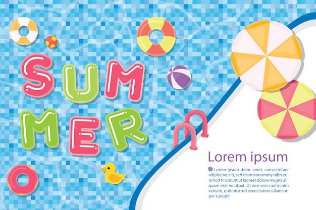 Шаблон иллюстрации летний шаблон с бассейном Premium векторы
