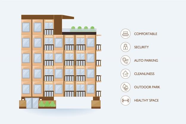 マンションの平らなベクトル都市建物とアイコン施設。 Premiumベクター