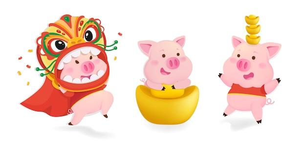 豚のキャラクターセット。中国の新年の豚。 Premiumベクター