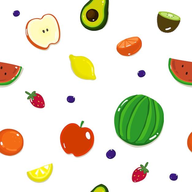 さまざまなフルーツとベリー、白のフルーツシームレスパターン。 Premiumベクター