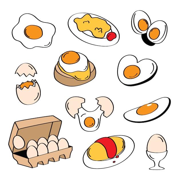 手描きスタイルの卵メニュー Premiumベクター