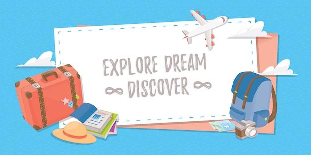 Путешествие баннер для веб, плакат или приложение. Premium векторы