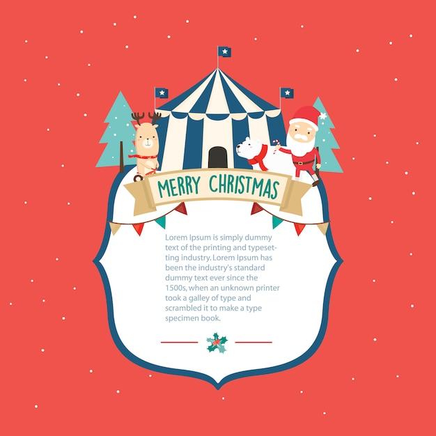 メリークリスマスのグリーティングカードテンプレート Premiumベクター