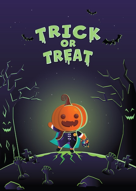 Хэллоуин пригласительный билет. хеллоуин костюм монстра на кладбище. Premium векторы