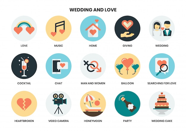 Свадебный набор иконок Premium векторы
