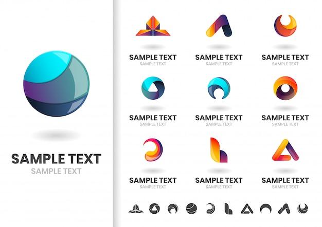 モダンな形状のベクトルのロゴまたはロゴタイプテンプレートセット Premiumベクター