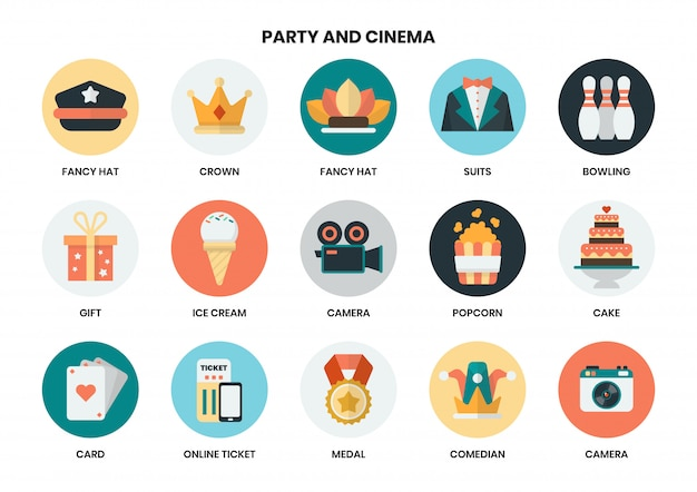 ビジネスのためのパーティーのアイコンを設定します Premiumベクター
