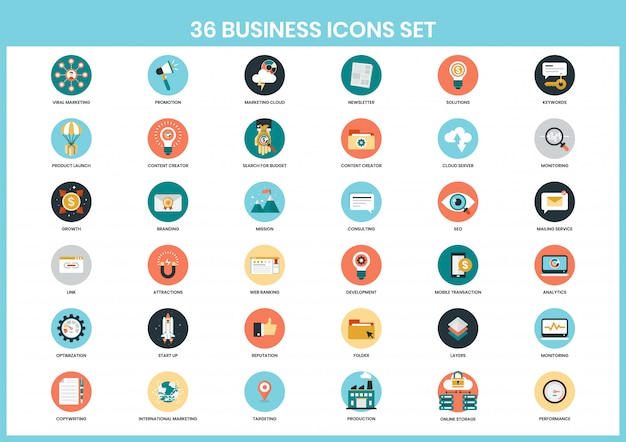 Бизнес иконки для бизнеса Premium векторы