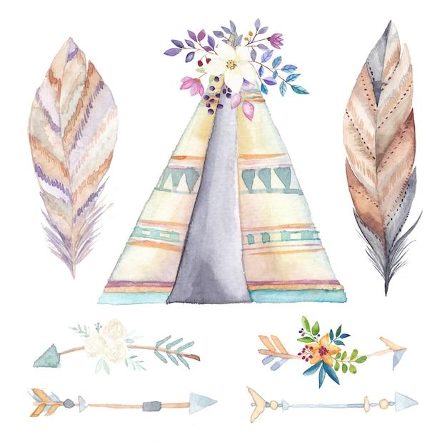 水彩の天蓋、民族の矢と花のセット Premiumベクター