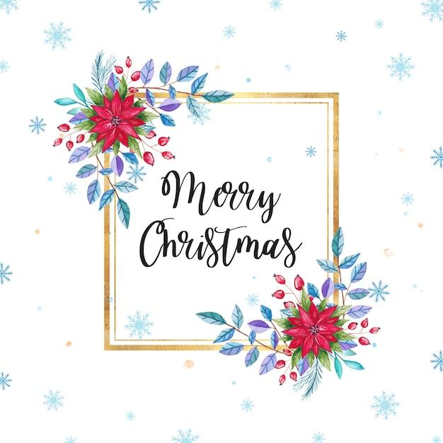水彩クリスマス花のフレーム Premiumベクター