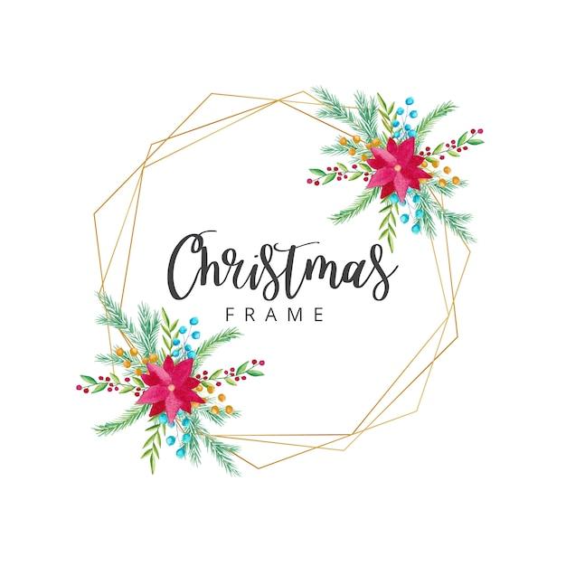 水彩クリスマスフレーム Premiumベクター