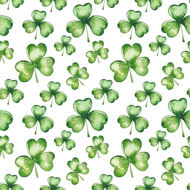 Акварель зеленый клевер листья бесшовный фон Premium векторы
