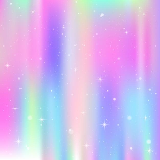 レインボーメッシュとユニコーンの背景。プリンセスカラーのカラフルな宇宙。ホログラムとファンタジーのグラデーション。 Premiumベクター
