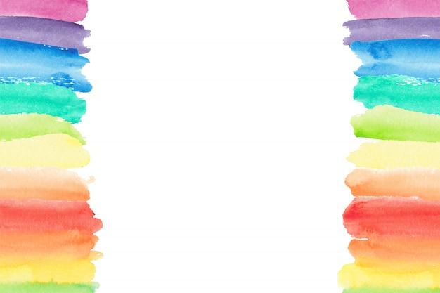 水彩虹の境界線。塗装の虹の背景 Premiumベクター