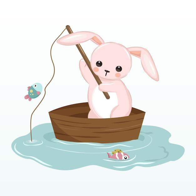 保育園の装飾のための湖図にピンクのバニー釣り Premiumベクター