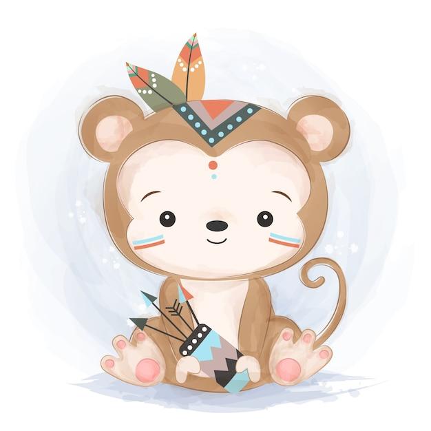 Милая иллюстрация обезьяны соплеменная Premium векторы
