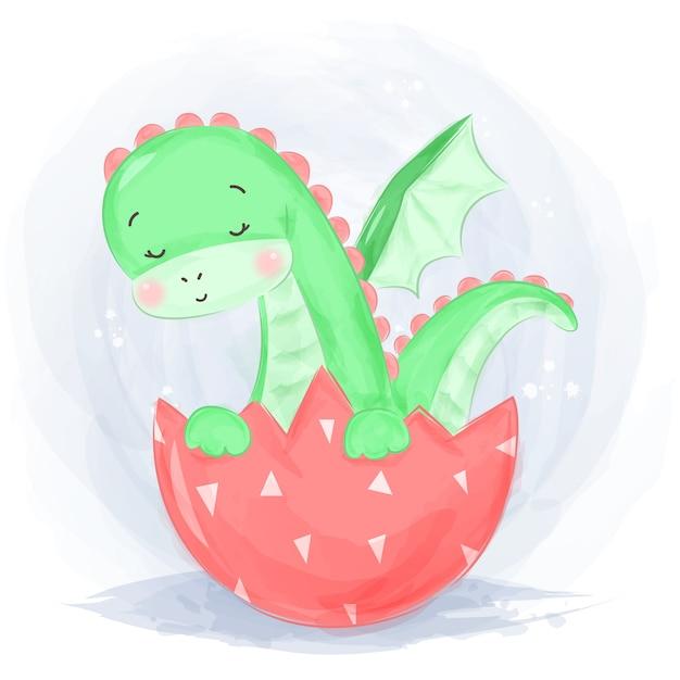 Акварель стиль зеленый динозавр иллюстрация Premium векторы