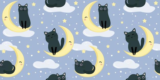 シームレスパターンのかわいい黒い子猫イラスト Premiumベクター
