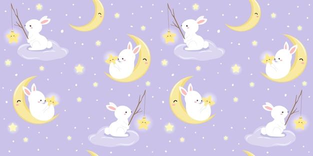 シームレスパターンのウサギと月のイラスト Premiumベクター