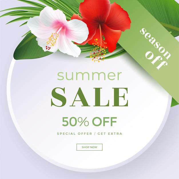 Летняя распродажа с тропическим цветком алого гибискуса Premium векторы