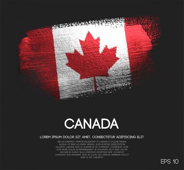 グリッタースパークルブラシペイントベクターで作られたカナダの旗 Premiumベクター