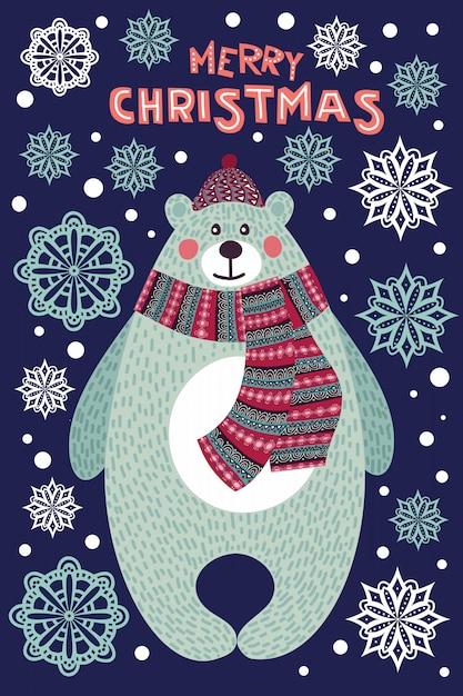 Искусство красочные рождественские иллюстрации с милый мультфильм медведь и снежинки. Premium векторы