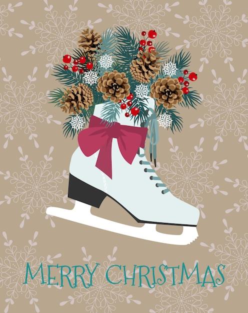 Рождество векторная иллюстрация с зимними коньками, еловыми ветками, шишкой и ягодой Premium векторы