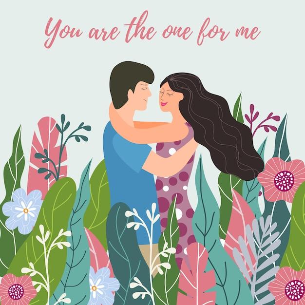 花の中で愛のカップル Premiumベクター
