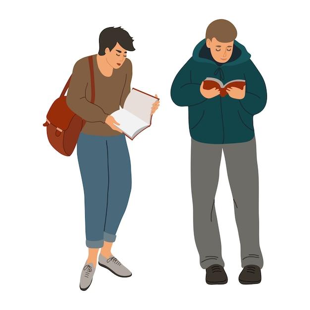孤立した読書の人々。手は面白い本で男の子を描きます。白で隔離フラットイラスト。 Premiumベクター
