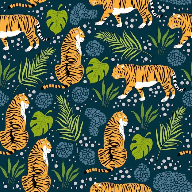 Бесшовный фон с тиграми и тропическими листьями. модный стиль. вектор Premium векторы
