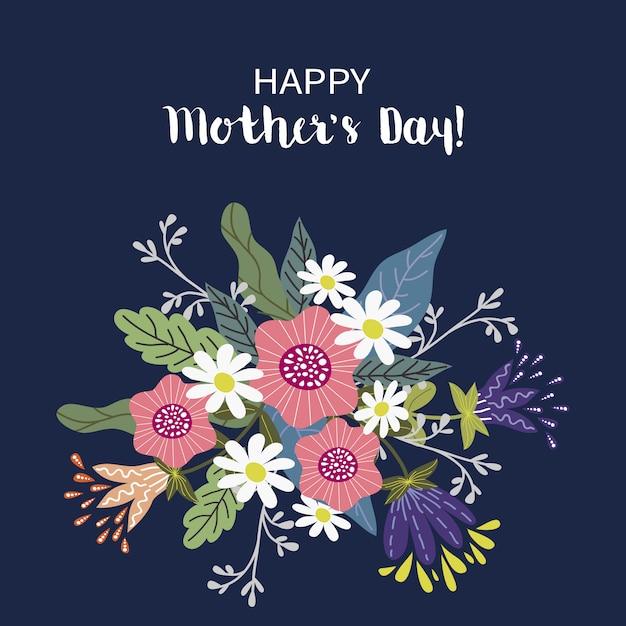 С днем матери, цветочная концепция дизайна розыгрыша руки, букет цветов с текстом Premium векторы
