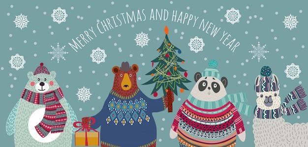冬の服のクマ、ホッキョクグマ、パンダ、ラマクリスマスの挨拶 Premiumベクター
