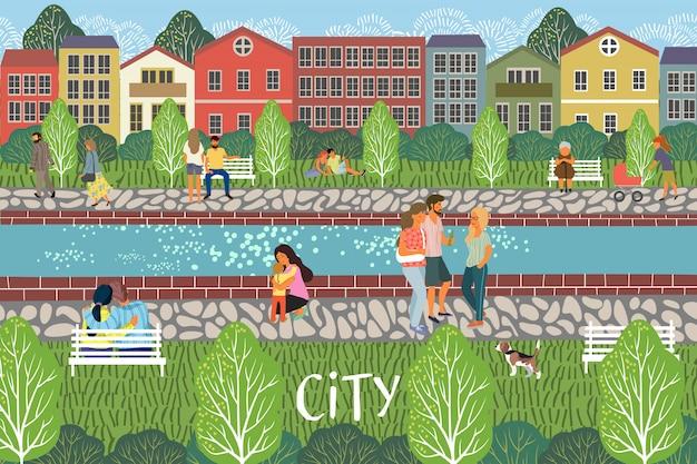散歩イラストを持つ人々と川の遊歩道 Premiumベクター