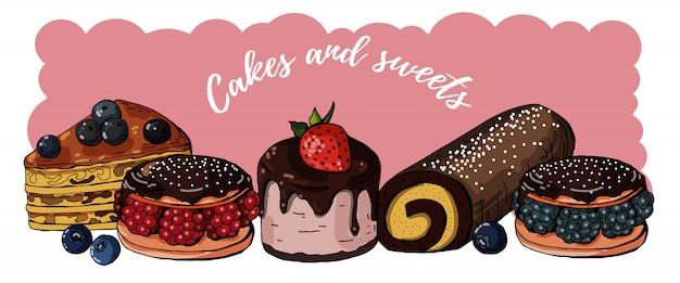 お菓子とケーキのコレクション Premiumベクター