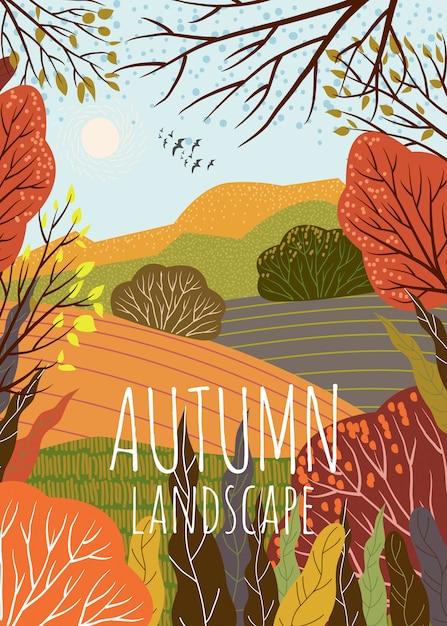 Осенний пейзаж симпатичные векторная иллюстрация фоне природы с холма Premium векторы
