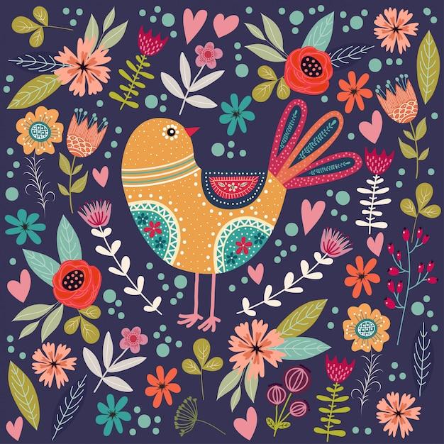美しい抽象的な民俗鳥と花とカラフルなイラスト。 Premiumベクター