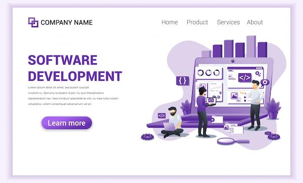 Целевая страница разработки программного обеспечения и программистов Premium векторы