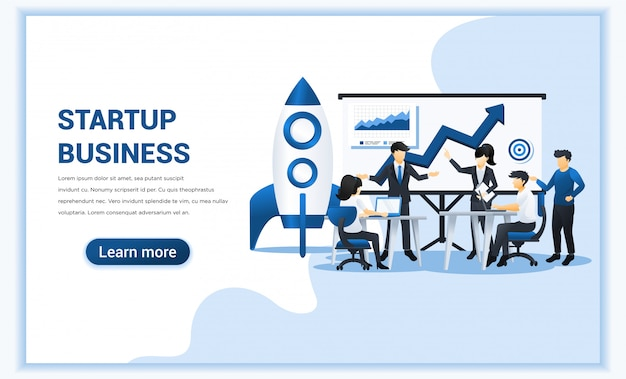ビジネスは、会議やスクリーンプレゼンテーションに取り組んでいる人々とのコンセプトを開始します。図 Premiumベクター