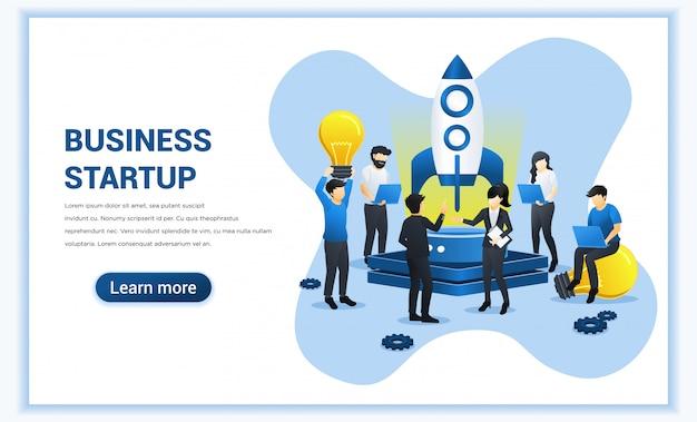 Концепция проекта запуска бизнеса. люди работают над ракетой и готовятся к запуску стартапа. плоская иллюстрация Premium векторы