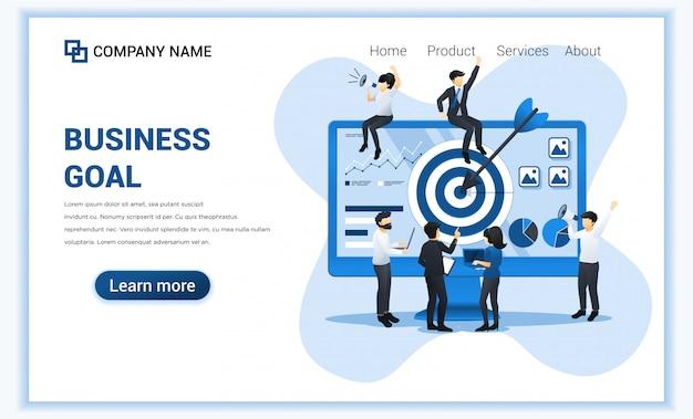 事業コンセプト。ターゲットビジネスに到達するための矢印を使用して、画面ターゲットで一緒に作業している人々。 Premiumベクター