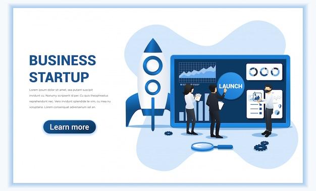 Бизнес начинается с людей, работающих на экране, готовящихся к запуску бизнеса запуска. Premium векторы