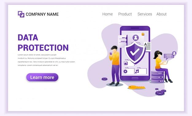 Цифровая защита данных для шаблона целевой страницы. Premium векторы
