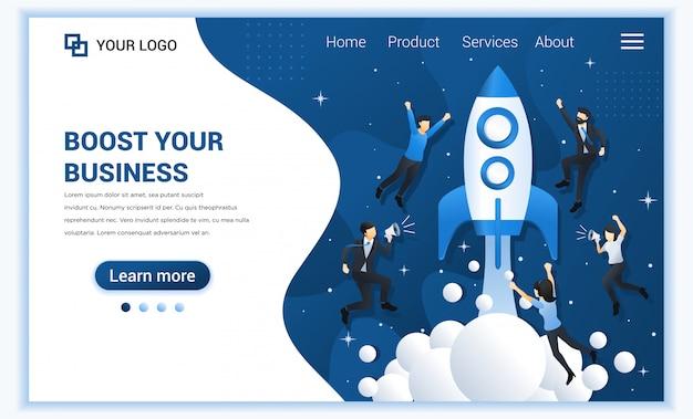 Концепция запуска бизнеса с людьми, летящими с запуском ракеты в космос. Premium векторы