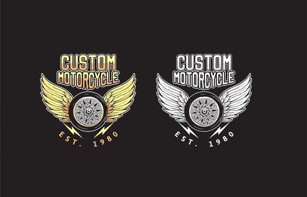 Пользовательские крылья мотоцикла и иллюстрация дизайна колеса Premium векторы