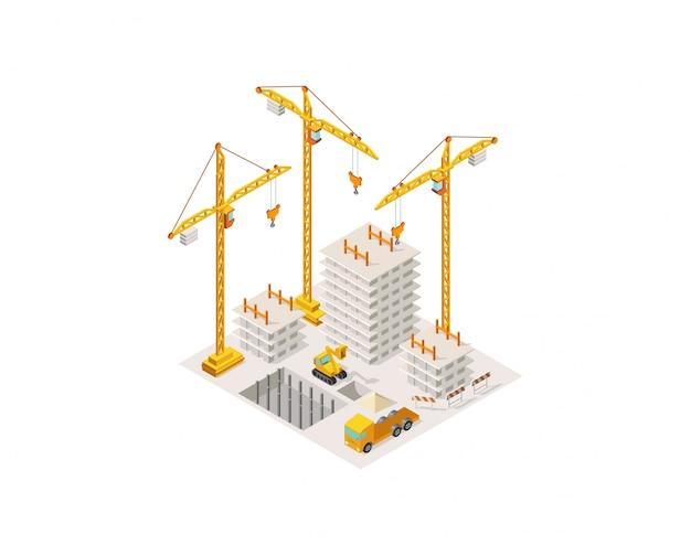 等尺性の家を建てる建設。吊り上げクレーン。コンクリートフレーム建築面積の建設のプロセス。 Premiumベクター