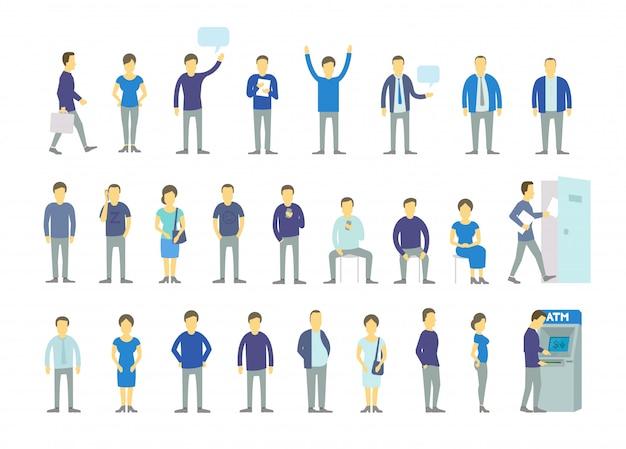 Установите разных людей, поставьте в очередь банкомат, поверните дверь. группа людей, рабочие команды бизнесменов в синей одежде. Premium векторы