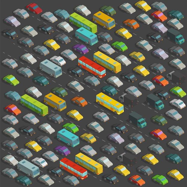 街の恐ろしい交通渋滞等角投影図。背景に多くの車のイラストがたくさん Premiumベクター