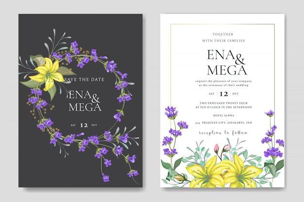 美しい花の葉で設定した結婚式の招待状 Premiumベクター