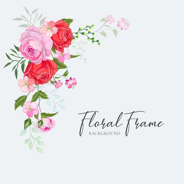 花のフレームの結婚式の招待カードデザインベクトル赤ピンクローズ Premiumベクター